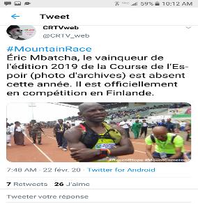 Oui, Eric Mbacha, le triple vainqueur de l'ascension du mont Cameroun n'a pas participé à la course de l'espoir 2020 parce qu'il est en exile.