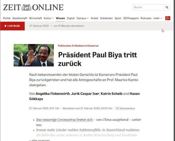 Fact-checking : l'article qui annonce la démission de Paul Biya est monté de toute pièce