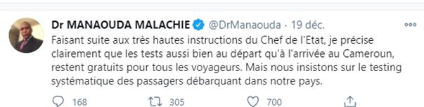 Fact-cheking : Les tests COVID-19 restent non payants dans les aéroports de Douala et Yaoundé