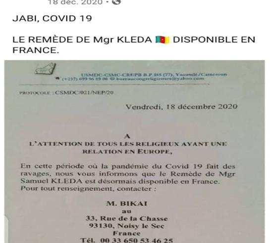 Fact-Checking : Mgr Kleda n'a pas de point focal de distribution de son remède contre la Covid-19 en France.