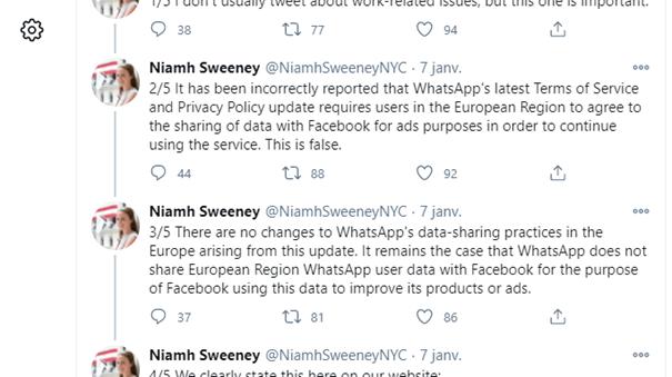 Fact-cheking : Aucun changement aux pratiques de partage de données de WhatsApp