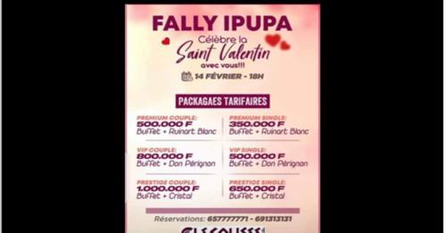 Fact-cheking : Les prix des tickets d'accès au concert de Fally pour la Saint Valentin viennent des clients