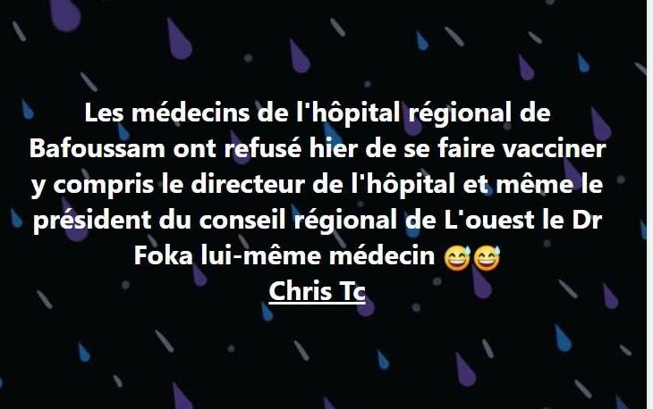 Fact-checking : Le directeur de l'hôpital régional de Bafoussam a reçu le vaccin contre la Covid-19