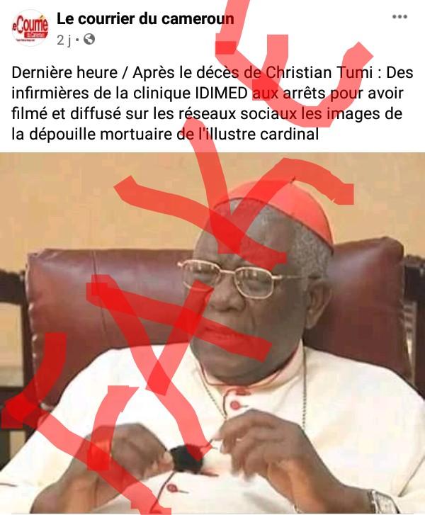 Fact-checking : Le Cardinal Tumi n'est pas décédé à la clinique Idimed