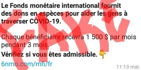Fact-checking : Non, le FMI n'aide pas des individus  à surmonter la Covid-19