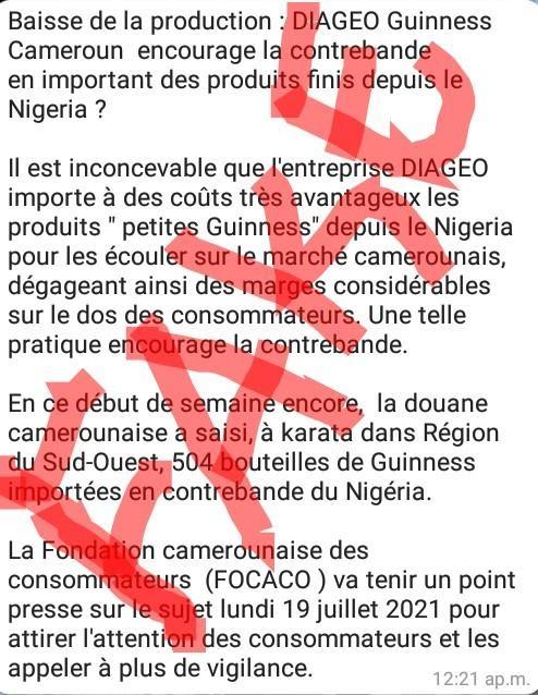 Fact-checking : Non, la production de Guinness-Cameroun n'est pas en baisse
